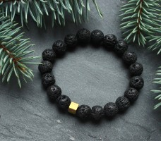 BLACK LAVA & GOLD HEMATITE